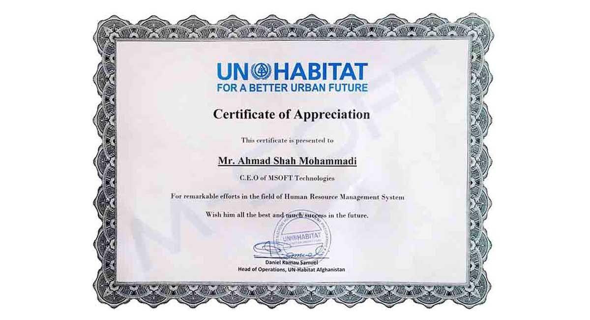 Certificate From UN-HABITAT
